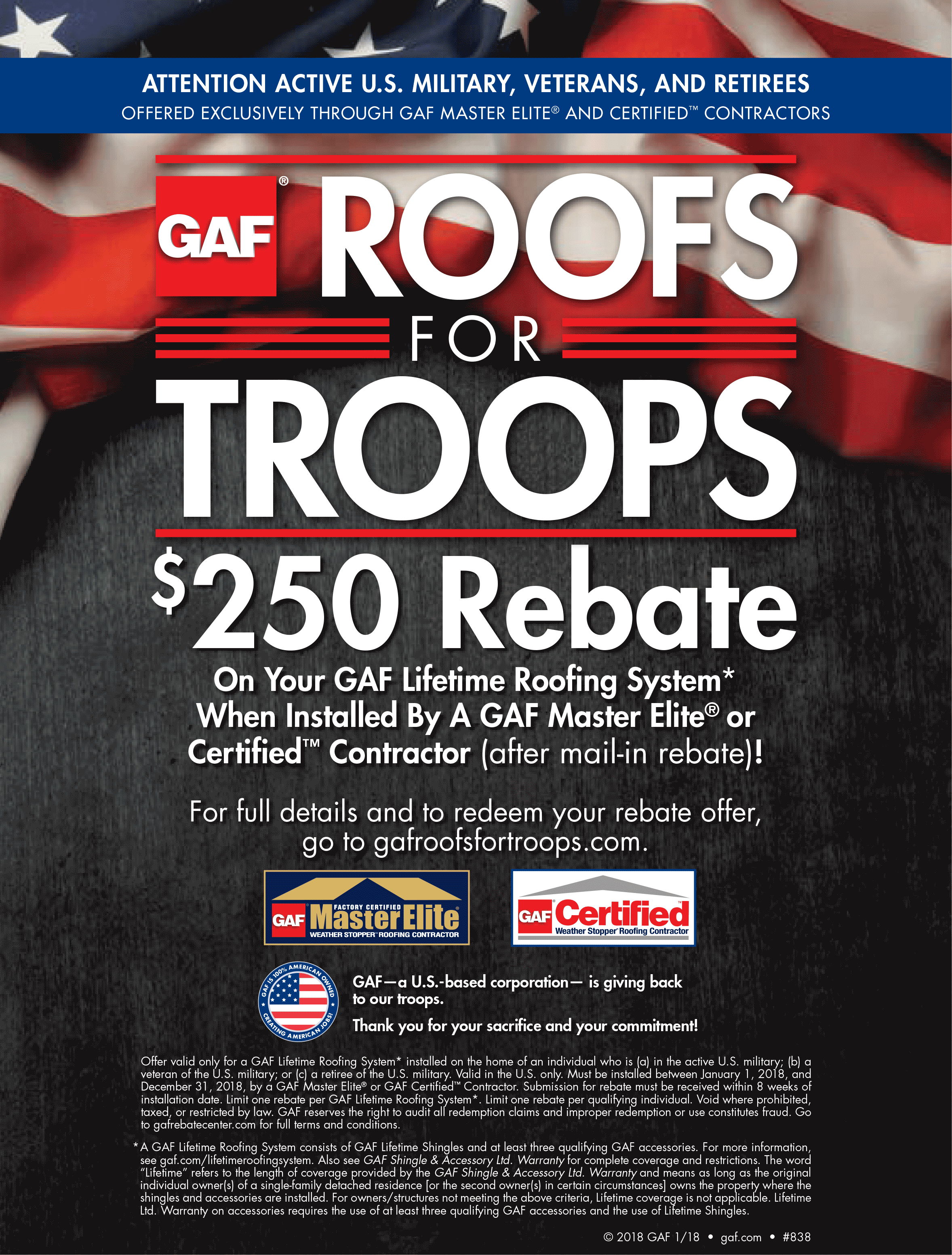 GAF Roofs for Troops Participant